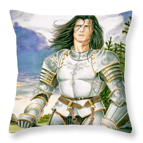 Swords Throw Pillow featuring the painting Sir Lancelot by Melissa A Benson