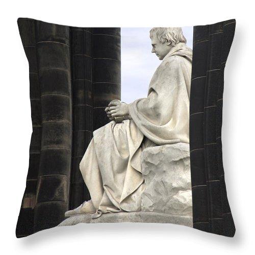 Sir Walter Scott Throw Pillow featuring the photograph Sir Walter Scott Statue by Mike McGlothlen