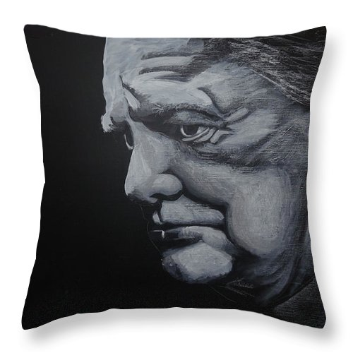 Winstone Throw Pillow featuring the painting Sir Winstone Churchill by Richard Le Page