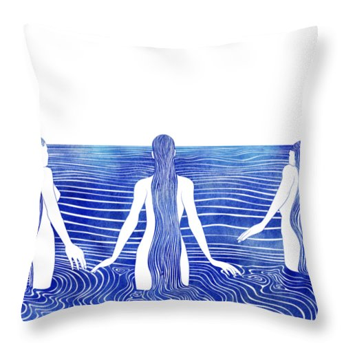 Aqua Throw Pillow featuring the mixed media Sirens Call by Stevyn Llewellyn