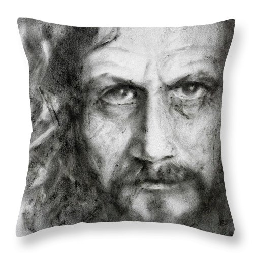 Portrait Throw Pillow featuring the painting Sirius Black by Kira Jensikbayeva