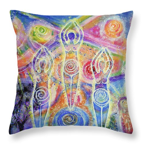 Goddess Throw Pillow featuring the painting Sisterhood Of The Divine Feminine by Lila Violet