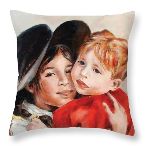 Portrait Throw Pillow featuring the painting Sisters by Ekaterina Mortensen