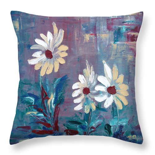 Daisies Throw Pillow featuring the painting Sisters by Gina De Gorna