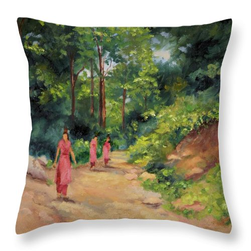 Nepal Landscapes Throw Pillow featuring the painting Sisters in Nepal by Ginger Concepcion