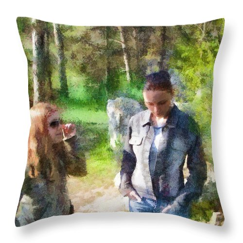 Sisters Throw Pillow featuring the painting Sisters by Jeffrey Kolker