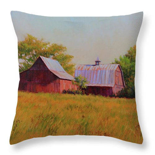 Barns Throw Pillow featuring the painting Sisters by Keith Burgess