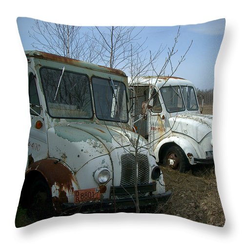 Trucks Throw Pillow featuring the photograph Sisters by Tim Nyberg