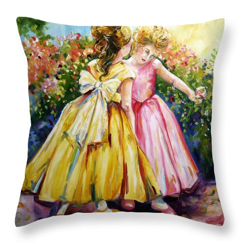 Girls Throw Pillow featuring the painting Sisters Secrets by Laurie Pace