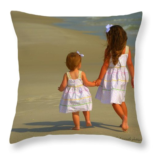 Ocean Throw Pillow featuring the photograph Sisters by Sheri Bartoszek