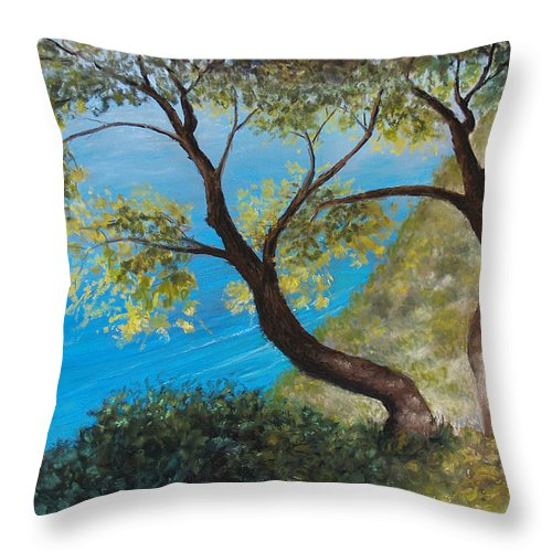Trees Throw Pillow featuring the pastel Sisters by Susan Jenkins