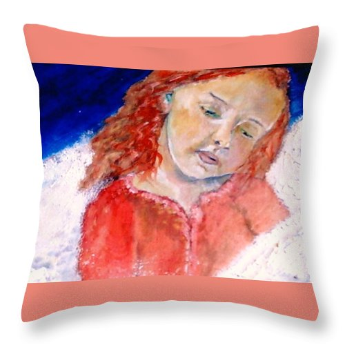 Angels Throw Pillow featuring the painting watching the Dreamers by J Bauer