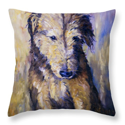 Airedale Throw Pillow featuring the painting Sit by Peggy Wilson