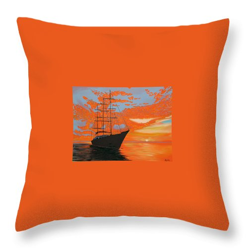 Seascape Throw Pillow featuring the painting Sittin' On The Bay by Marco Morales