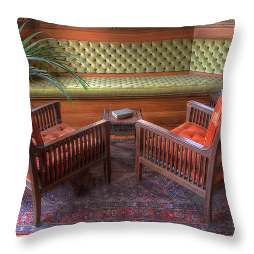 Frank Lloyd Wright Throw Pillow featuring the photograph Sitting Area At Frank Lloyd Wright Home And Studio by Ann Higgens