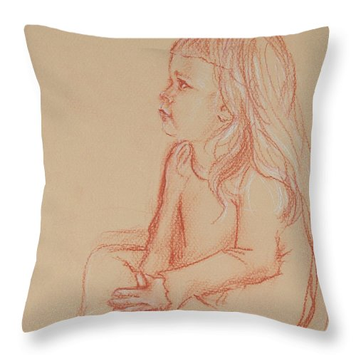 Child Throw Pillow featuring the drawing Sitting Girl by Jennifer Christenson