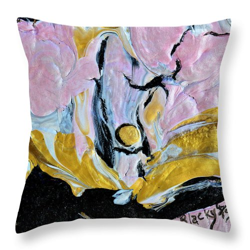 Pink Cloud Throw Pillow featuring the painting Sitting In A Pink Cloud by Donna Blackhall