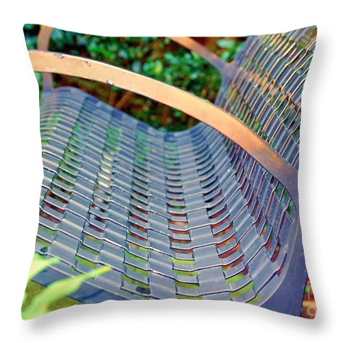 Bench Throw Pillow featuring the photograph Sitting On A Park Bench by Debbi Granruth
