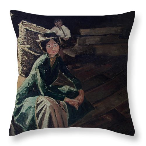 Lady Throw Pillow featuring the painting Sitting On The Dock by Arline Wagner