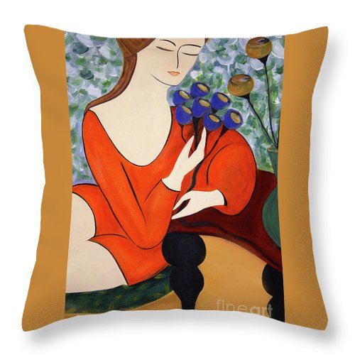 #female Throw Pillow featuring the painting Sitting Women by Jacquelinemari