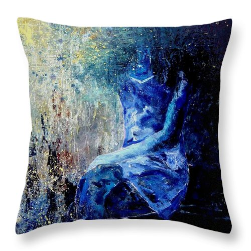 Woman Girl Fashion Throw Pillow featuring the painting Sitting Young Girl by Pol Ledent