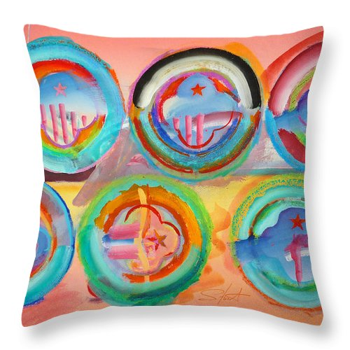 9/11 Throw Pillow featuring the painting Six American Icons by Charles Stuart