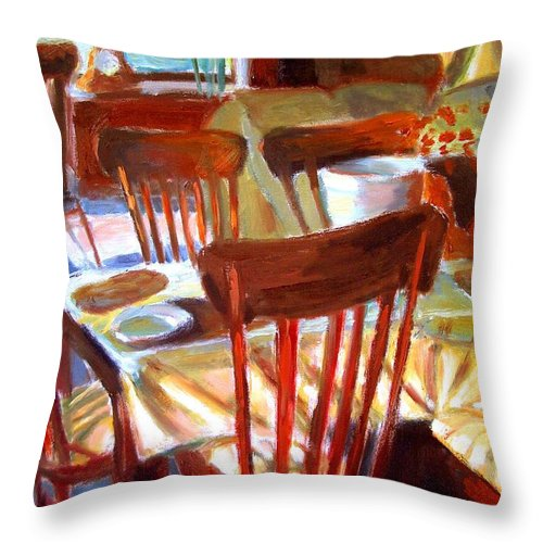 Dornberg Throw Pillow featuring the painting Six Chairs by Bob Dornberg