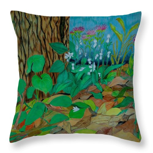 Tree Throw Pillow featuring the mixed media Six in hiding by Charla Van Vlack