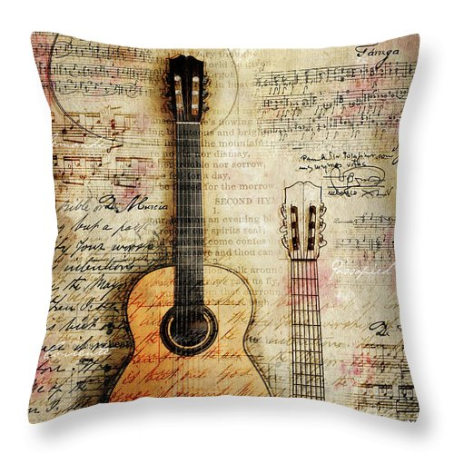 Guitar Digital Art Throw Pillow featuring the digital art Six String Sages by Gary Bodnar