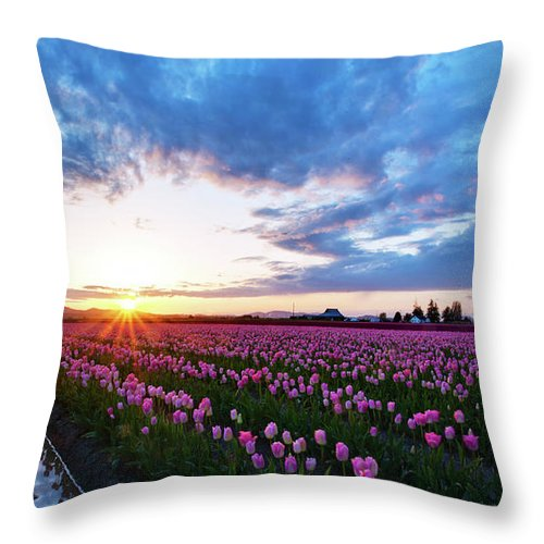 Skagit Throw Pillow featuring the photograph Skagit Floral Sunset by Mike Reid