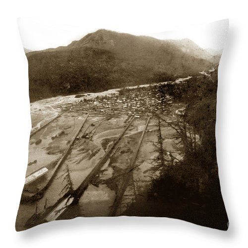 Pat Hathaway Throw Pillow featuring the photograph Skaguway, Alaska View From Hill Over Looking 1898 by California Views Archives Mr Pat Hathaway Archives