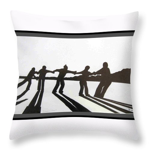 Skaters Throw Pillow featuring the drawing Skaters by Dragica Micki Fortuna