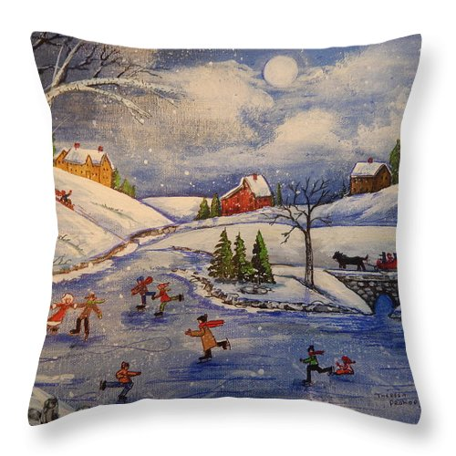 Ice Skaters Throw Pillow featuring the painting Winter Fun Part 2 by Theresa Prokop