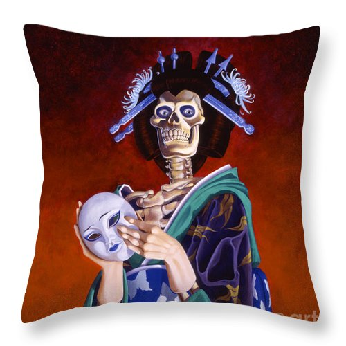 Skeleton Throw Pillow featuring the painting Skeletal Geisha With Mask by Melissa A Benson