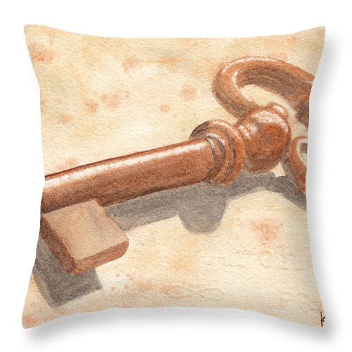 Key Throw Pillow featuring the painting Skeleton Key by Ken Powers