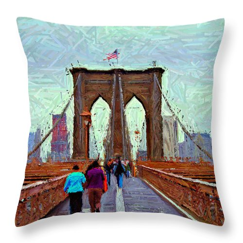 Brooklyn Throw Pillow featuring the digital art Sketch Of Brooklyn Bridge Pedestrians by Randy Aveille