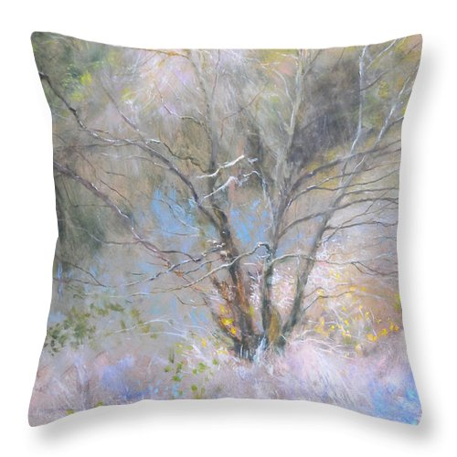 Landscape Throw Pillow featuring the painting Sketch Of Halation Effect Through Trees by Harry Robertson