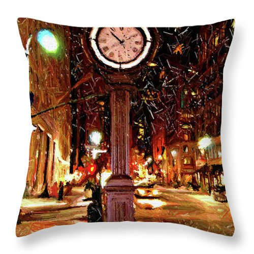 Manhattan Throw Pillow featuring the digital art Sketch Of Midtown Clock In The Snow by Randy Aveille