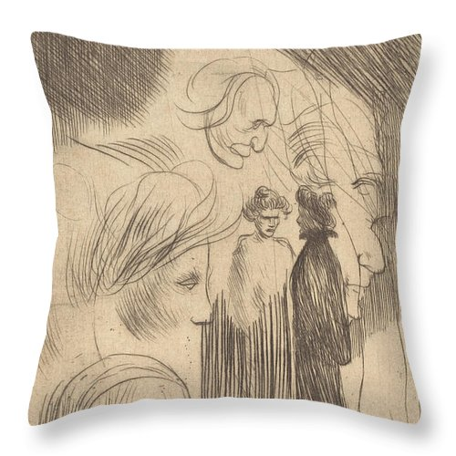 Throw Pillow featuring the drawing Sketch Plate by Th?ophile Alexandre Steinlen
