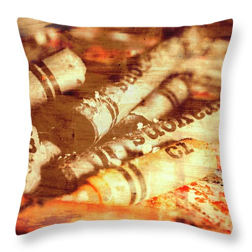 Art Throw Pillow featuring the photograph Sketchy Old Fine Art Palette by Jorgo Photography - Wall Art Gallery