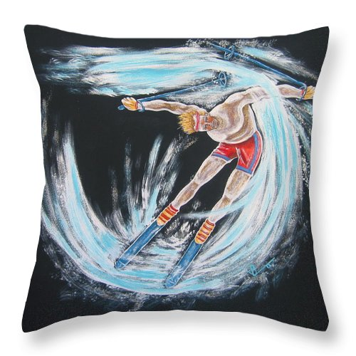 Abstract Sports Throw Pillow featuring the painting Ski Bum by V Boge