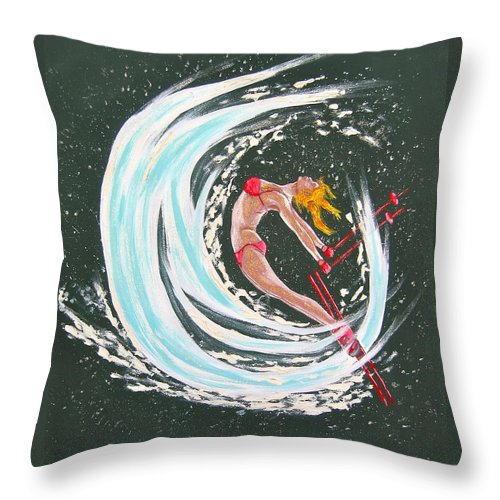 Abstract Sports Throw Pillow featuring the painting Ski Bunny by V Boge