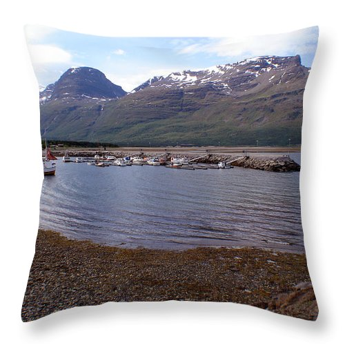 Skibotn Throw Pillow featuring the photograph Skibotn Harbor Norway by Merja Waters