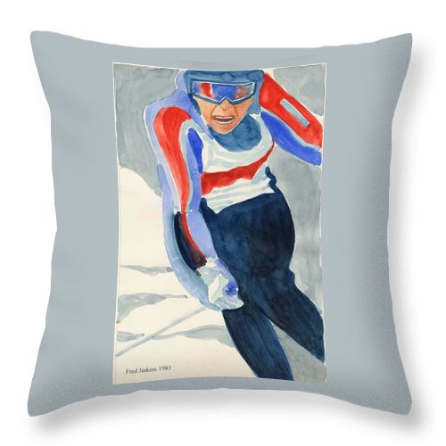 Skier Throw Pillow featuring the painting Skier by Fred Jinkins