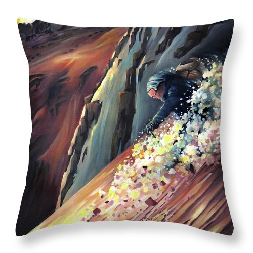 Steeps Throw Pillow featuring the painting Skier On The Steeps by Nancy Griswold