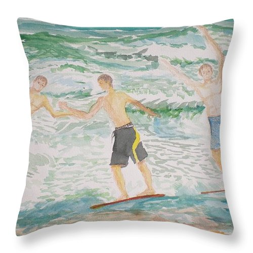 Seascape Throw Pillow featuring the painting Skim Boarding Daytona Beach by Hal Newhouser