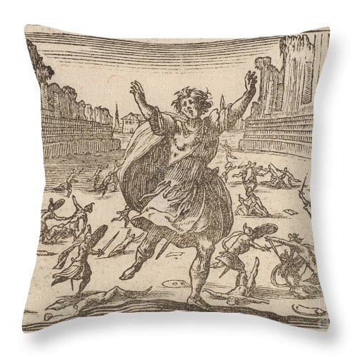 Throw Pillow featuring the drawing Skirmish In A Roman Circus by Edouard Eckman After Jacques Callot