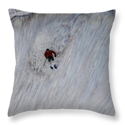Landscape Throw Pillow featuring the painting Skitilthend by Michael Cuozzo