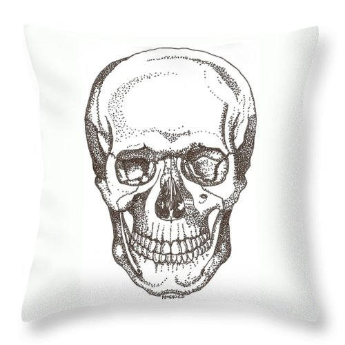 Skull Throw Pillow featuring the drawing Skull by Americo Salazar