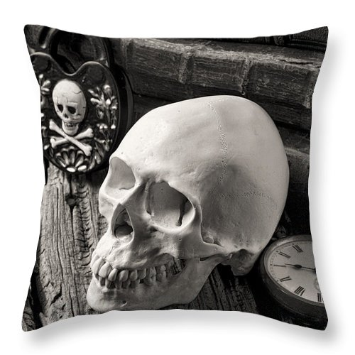Skull Throw Pillow featuring the photograph Skull And Skeleton Key by Garry Gay